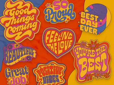 Snapchat Sticker Pack — A Little Positivity sticker design sticker positivity positivevibes groovy 70s psychedelic custom lettering lettering type