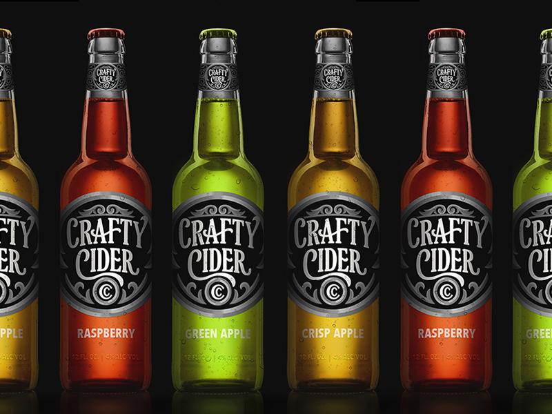 Crafty Cider Bottle Design type typography lettering design illustration vector branding packaging