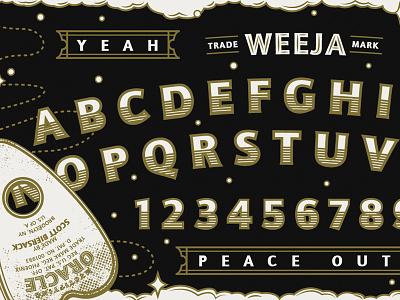"""Weeja"" Board design peace out psychic key door illo wip ouija vector illustration"