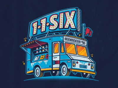 The Tee Truck t-shirt screen printing screen print food truck truck vector illustration typography type