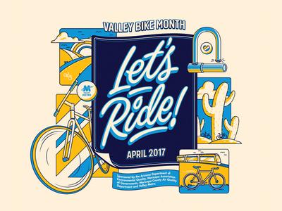 Phoenix Bike Month bike month light rail phoenix illustration design typography type