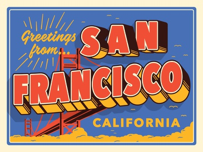 Greetings SF san fran san francisco postcard california illustration typography type