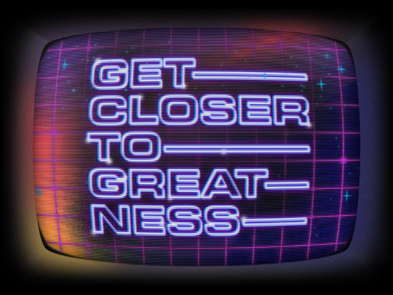 Greatness video game arcade scan lines crt design illustration