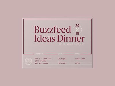 Buzzfeed Ideas Dinner typography buzzfeed invite design invitation invite type