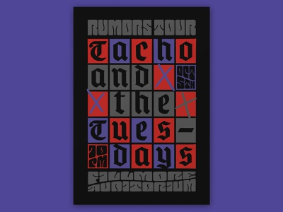 Atlassian – Tacho and the Tuesdays psychedelic handlettering fillmore poster fillmore poster design blackletter lettering typography type