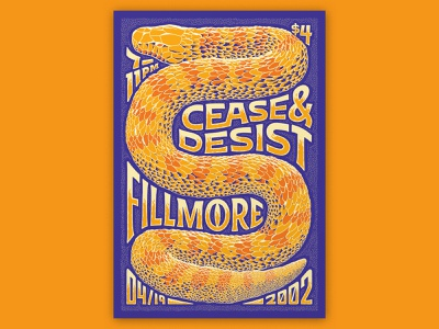 Atlassian – Cease & Desist metal band illustration snake poster design fillmore poster fillmore handlettering lettering typography type