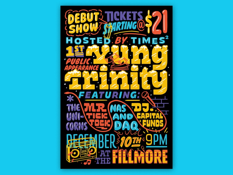 Atlassian – Yung Trinity illustration fillmore poster design rap poster rap handlettering lettering typography type