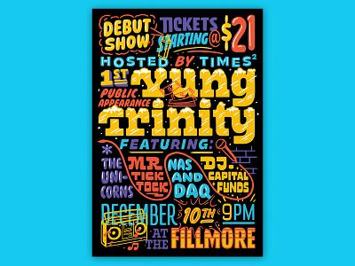 Atlassian – Yung Trinity illustration fillmore poster design rap poster rap handlettering lettering typography type