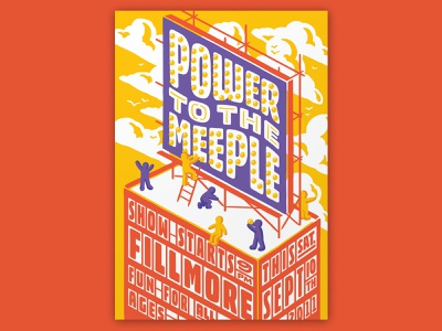Atlassian – Power to the Meeple poster design poster fillmore illustration handlettering lettering typography type