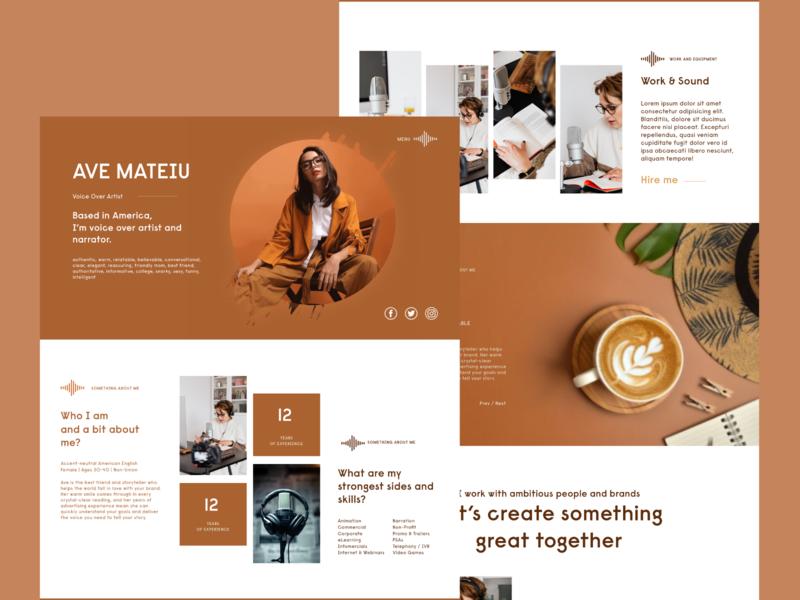 Ave - Personal Portfolio freelancer narrator artist personal branding portfolio website webdesign animation flat web design icon typography ux ui logo branding
