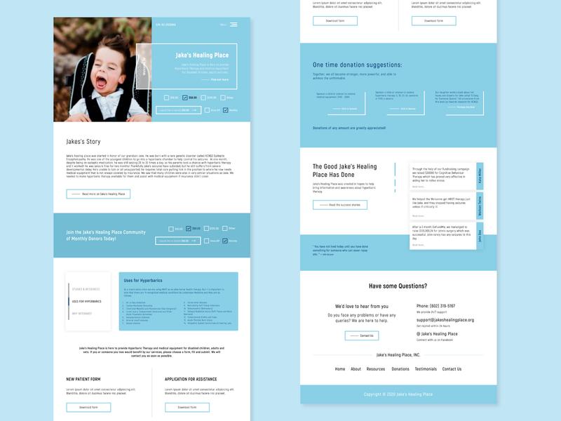 Jake's Healing Place - Non Profit disabled medical adults therapy children flat concept website web ux ui branding design web design nonprofit