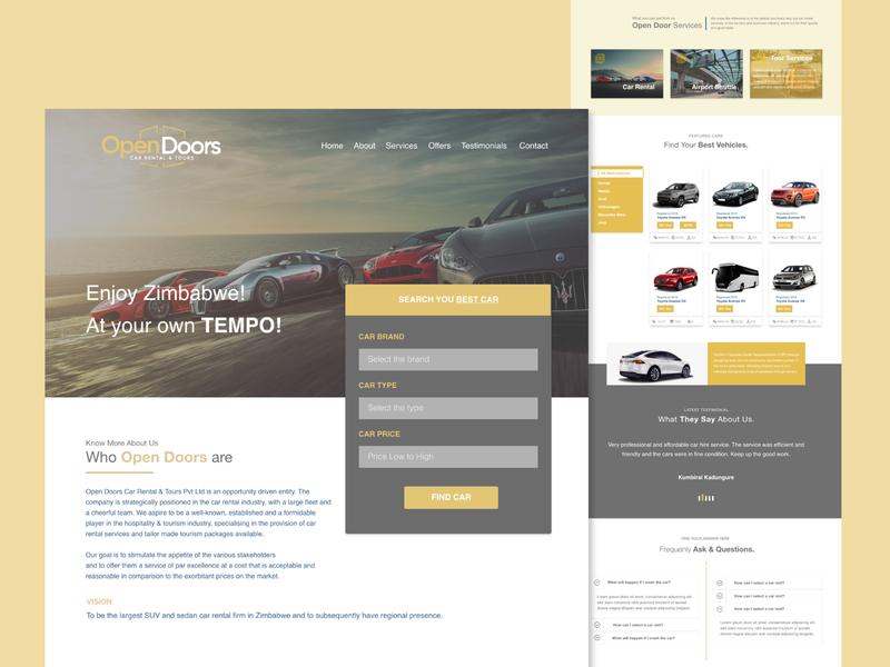 Open Door - Landing page branding flat landing page design homepage rentals car landing page design ux ui web website