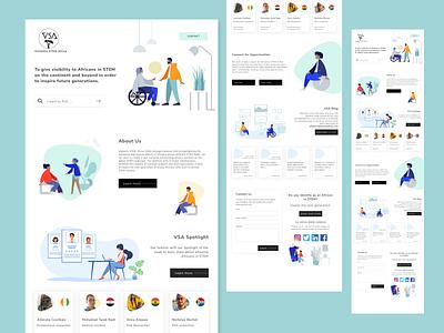 Visibility STEM Africa (VSA) - Landing page illustrations homepage landing page design landing page concept flat website web ux ui design