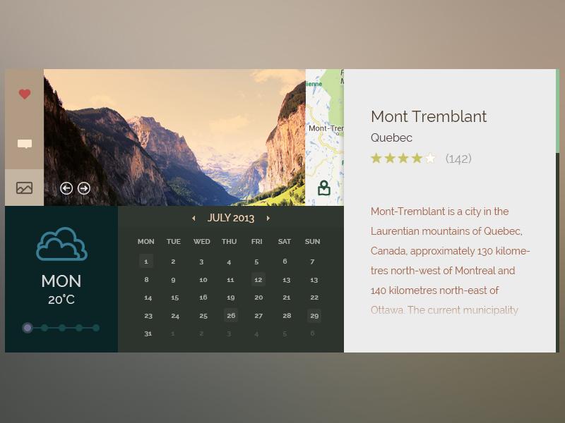 Outdoors ui (free PSD) psd ui outdoors calendar weather
