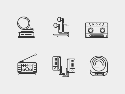Musique music device sound icon flat line stroke