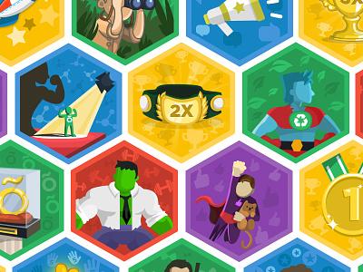 Officevibe Badges illustration badge flat hulk belt super hero captain planet spotlight officevibe