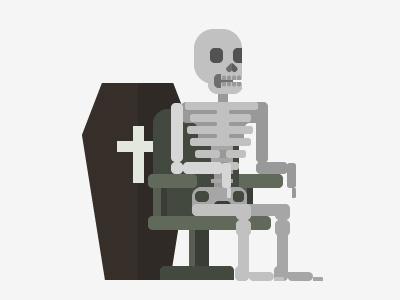Skellie illustration skeleton officevibe
