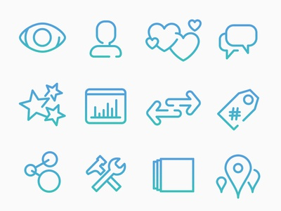 Feature icons icons gradient illustrations