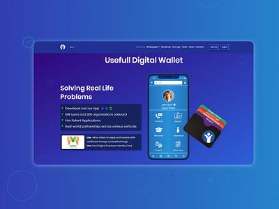 Digital wallet landing page front end design front end dev website web design design web ui minimal landing page flat concept