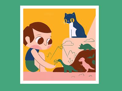 Boy & Dinosaurs procreate ipad dinosaurs cat toy dinosaur boy kid children book illustration childrens illustration childrens book children child illustration illustrator
