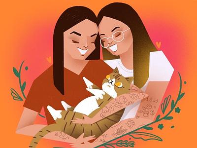 Happy family 👩🏻🐱👩🏻 portrait lgbt love couple tattoo family woman lady cat procreate ipad illustrator illustration