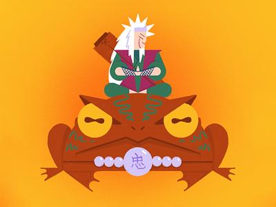 Jiraiya sensei, the toad sage ninja sage frog toad jiraiya naruto illustration