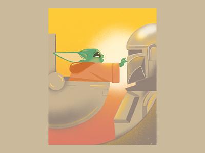 May the force be with us all disney starwars baby yoda grogu mandalorian illustration