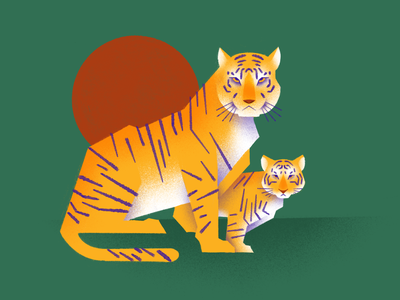 Mom mother mom cub tigress tiger illustration