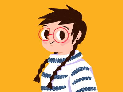 Hyper realistic self-portrait profile avatar portrait procreate pro create ipad minimalist flat woman character illustration