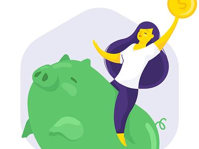 Piggy Bank • Ori 🤖 💸 woman ori money illustration financial chatbot bot banking bank banco original