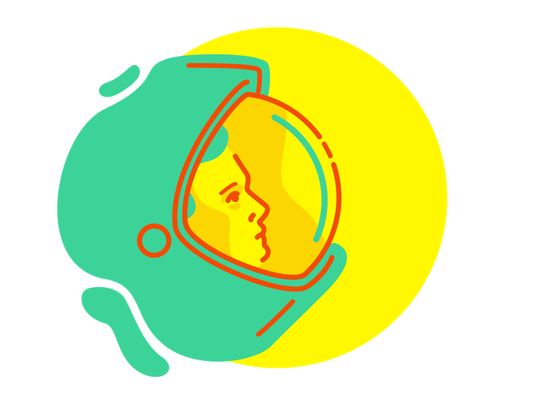 Dribbble shel yellow astronaut