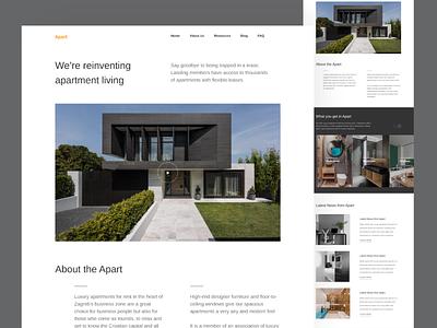 Apart - Landing Page landingpage apart ui branding ux minimal userinterface clean design