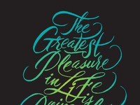 Greatest pleasure in life full