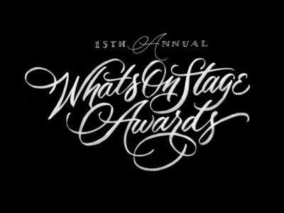 WhatsOnStage Awards lettering handlettering sketches drawing typography brush script