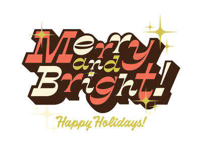 Merry and Bright Holiday retro illustration font design typeface typography type lettering
