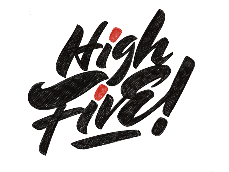 High Five! procreateapp ipad typography casual script brush lettering lettering