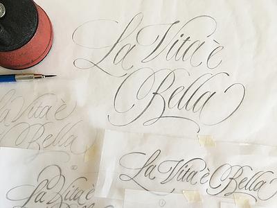 La vita è bella sketches type drawing sketch flourish swash script lettering