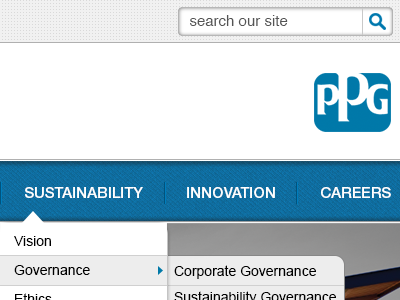 Preview of the new PPG.com site web design navigation drop down texture pattern shadow