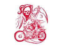 Rough Sketch grim reaper ride the motorbike