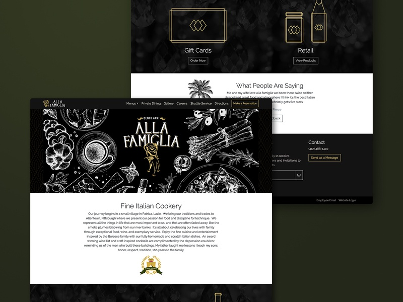 Alla Famiglia Website Homepage wordpress web development italian restaurant website web design