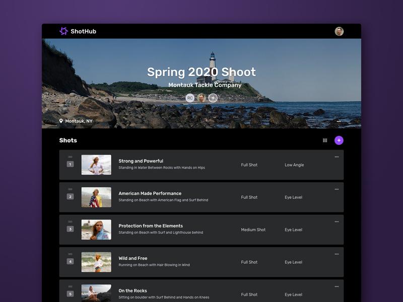 ShotHub Shot List View dark mode photography ui design web application development web application design project manager laravel