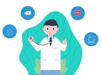Doctor profession job medical plant treatment boy icon design character texture rebound vector 2d flat illustration