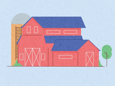 Farm barn graphic pen design blue green window door tree silo texture vector 2d illustration flat