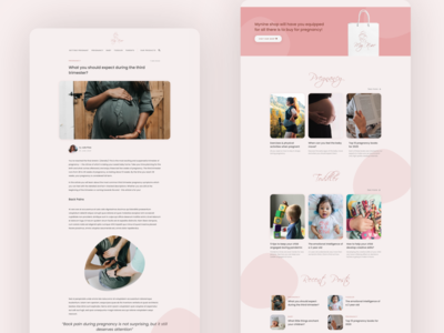 Pregnancy Blog Exploration - part 1 warm ui design color ui pregnancy mother news article website blog