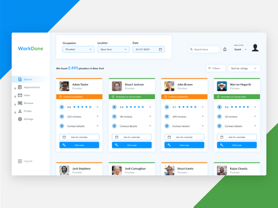 WorkDone Search Page - dashboard design for a concept project search colorful ux sidebar menu concept product sidebar work job board job cards card clean design ui ui design web design