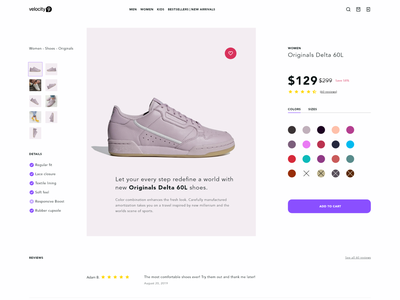 Product Page For An Online Shoe Store modern typography ux online store online shop minimal add to cart product page product e-commerce ecommerce web design clean design ui design ui webdesign