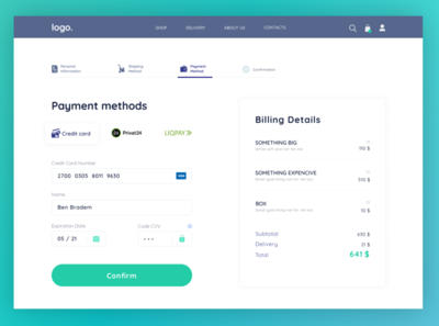 Credit Card Checkout webdesign ui design