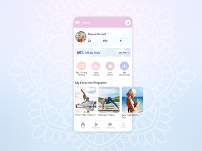 User Profile design ui yoga app app user profile challenge