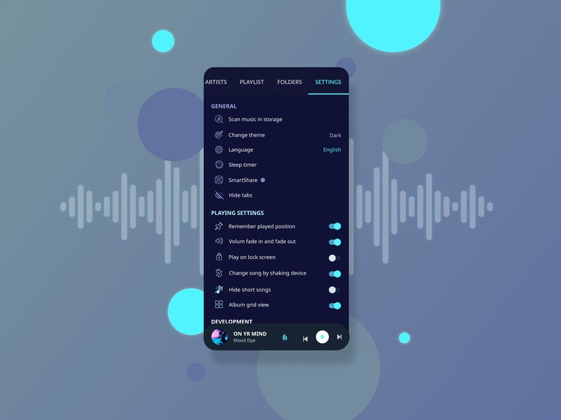 Music player settings app music app setting design ui challenge dailyui