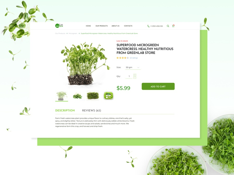 E-Commerce Shop Product Page online store microgreens item design ui product page challenge dailyui